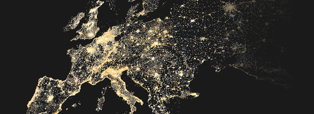 A map of Europe with key areas illuminated